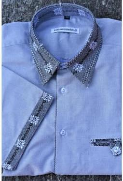Edelweiss Hemd Grau Kontrast Knopfleiste im Edelweiss Look innen, kurzarm