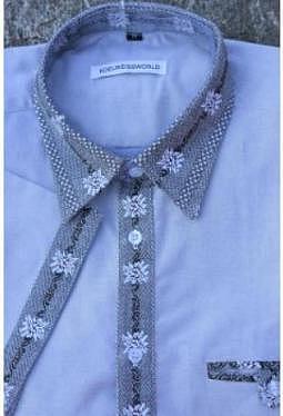 Edelweiss Hemd Grau Kontrast Knopfleiste im Edelweiss Look aussen, kurzarm