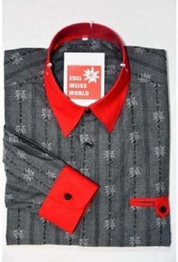 Edelweiss Hemd black red Jack premium, langarm