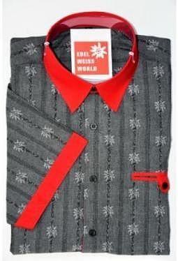 Edelweiss Hemd black red Jack premium, kurzarm