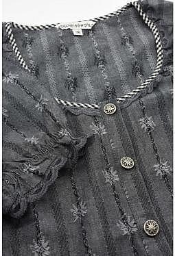 Edelweiss Kurzarmbluse anthrazit mit edlen Details